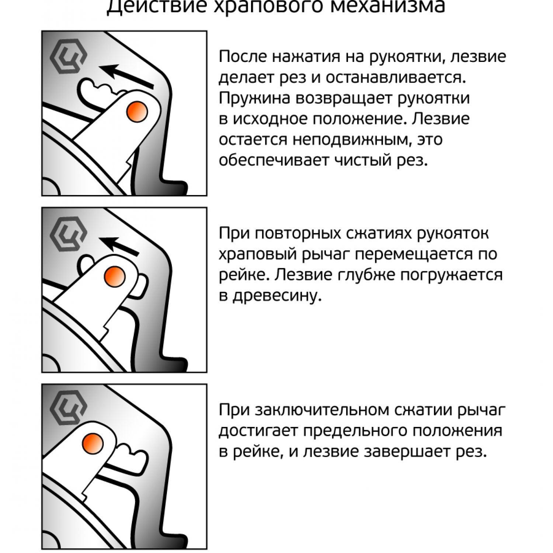 Секатор титановый контактный с храповым механизмом 0233