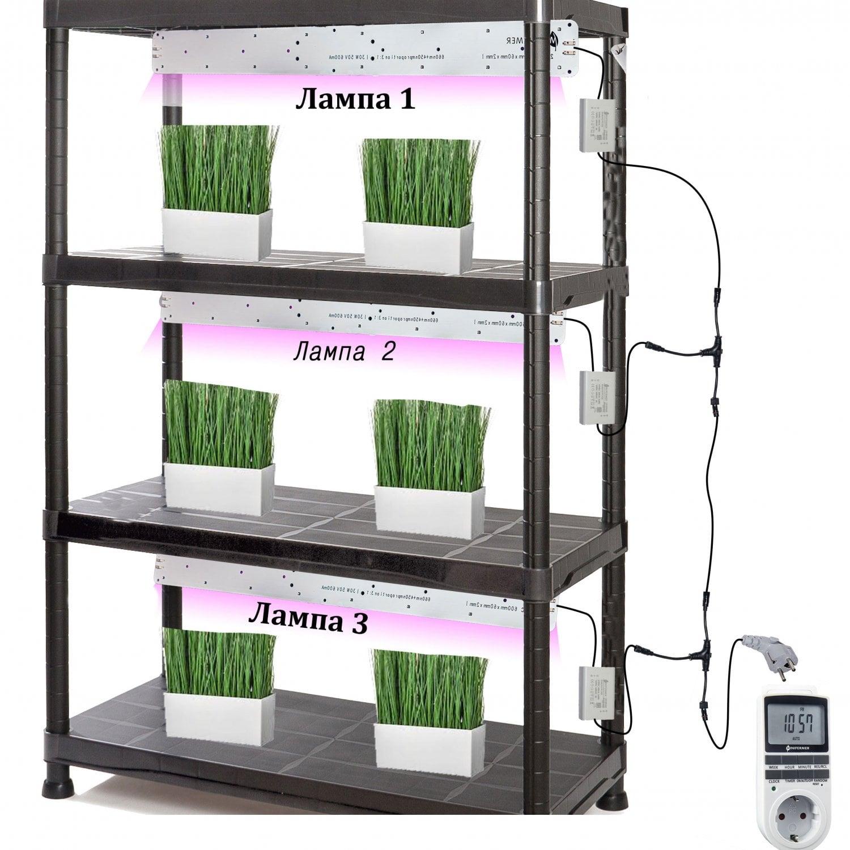Готовый стеллаж для выращивания растений 187*90*40